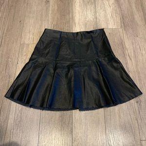 Faux Black Leather Skater Skirt